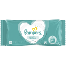Мокри кърпички Pampers - Sensitive, 52 броя  -1