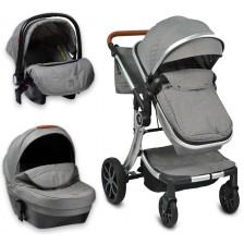 Комбинирана детска количка 3в1 Moni - Polly, Сива -1
