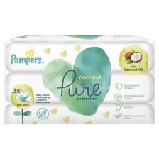 Мокри кърпички Pampers Pure - Кокос, 3 х 42  -1