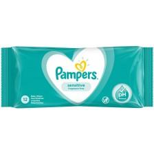 Мокри кърпички Pampers - Sensitive, 12 броя  -1