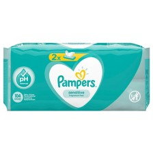 Мокри кърпички Pampers - Sensitive, 2 x 52 броя  -1