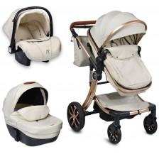 Комбинирана детска количка 3в1 Moni - Polly, Бежова -1
