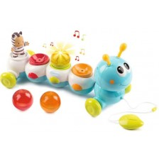 Музикална играчка за дърпане Smoby Cotoons - Гъсеничка, 32 cm -1