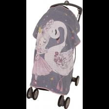 Муселиново покривало за детска количка с 3D принт Sevi Baby - Лебед -1