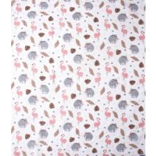 Муселинова пелена Sevi Baby - 120 x 100 cm, фламинго -1