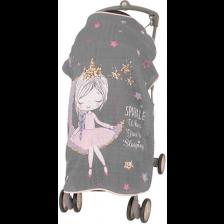 Муселиново покривало за детска количка с 3D принт Sevi Baby - Принцеса -1