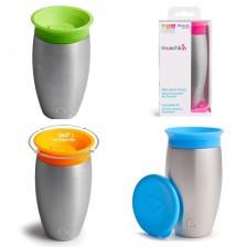 Munchkin Преходна чаша Чудо 360 градуса Stainless Steel Sippy Cup 296ml Цвят Оранжев -1