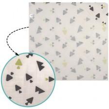 Муселинова хавлия с качулка Sevi Baby - Триъгълници -1