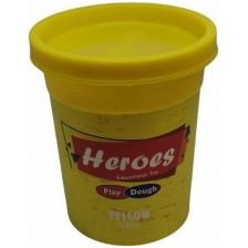 Натурален моделин в кутийка Heroes Play Dough - Жълт -1