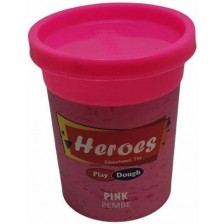 Натурален моделин в кутийка Heroes Play Dough - Розов -1