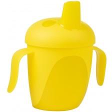 Нетечаща чаша Canpol - С твърд накрайник и капаче, жълта, 240 ml