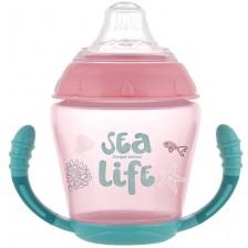 Нетечаща чаша с дръжки Canpol - Sea Life, 230 ml, розова -1