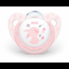 Биберон залъгалка NUK Rose - Зайче, 0-6 месеца + кутийка