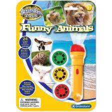 Образователна играчка Brainstorm - Фенерче с прожектор, Смешни животни -1