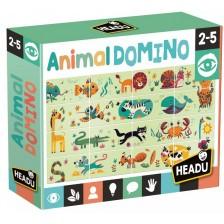 Образователна игра Headu Montessori - Домино с животни -1