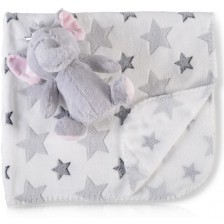 Одеяло с играчка Cangaroo - Little Elephant, 90 x 75 cm -1