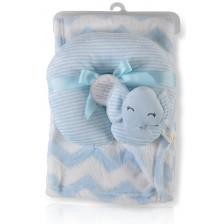 Одеяло с възглавница Cangaroo - Sammy, 90 x 75 cm, синьо -1