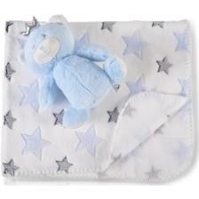 Одеяло с играчка Cangaroo -  Blue Bear, 90 x 75 cm -1