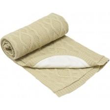 Бебешко плетено одеяло EKO - Бежово, 85 х 75 cm -1