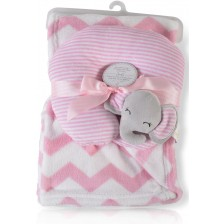 Одеяло с възглавница Cangaroo - Sammy, 90 x 75 cm, розово -1
