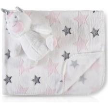 Одеяло с играчка Cangaroo - Rarity, 90 x 75 cm -1