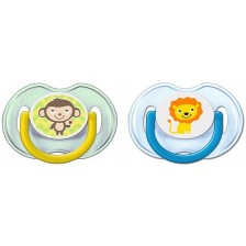 Ортодонтични залъгалки Philips Avent, Лъвче и маймунка, 0-6 месеца, 2 броя  -1