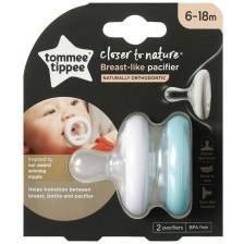 Ортодонтични залъгалки Tommee Tippee - Breast Like, 6-18 месеца, 2 броя  -1