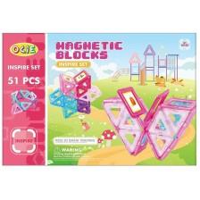 Конструктор с магнитни елементи Ocie Magnetic Blocks - Inspire, 51 части, розов -1