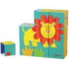 Дървен пъзел с кубчета Classic World - Животни -1