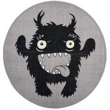 Памучно килимче Bloomingville - Плезещо се чудовище, сивo -1
