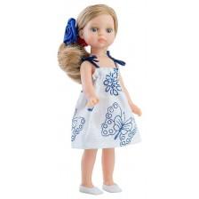 Кукла Paola Reina Mini Amigas - Валерия, с бяла рокля със сини мотиви, 21 cm -1