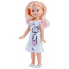Кукла Paola Reina Mini Amigas - Елена, с бяла рокля с рисунка на момиче, 21 cm -1