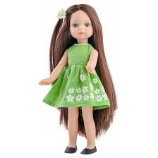 Кукла Paola Reina Mini Amigas - Естела, със зелена рокля на бели цветя, 21 cm -1