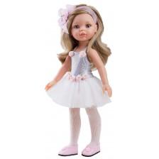 Комплект дрехи за кукла Paola Reina - Сребърно трико и бяла тюлена пола, 32 cm -1