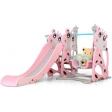 Пързалка с люлка Moni Garden - Miki, 172 cm, розова -1