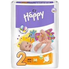 Пелени за еднократна употреба Bella Happy - Мини 2, 3-6 kg, 38 броя