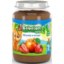Плодово пюре Bebelan - Ябълки и ягоди, 190 g -1