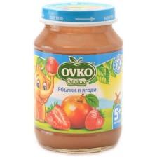 Плодово пюре Bebelan Ovko - Ябълки и ягоди, 190 g