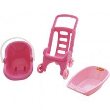 Комплект аксесоари за кукла Polesie Toys - Pink line 3 в 1 -1