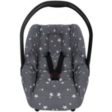 Протектор за стол за кола с предпазител за кръста Sevi Baby - Сиви звезди -1