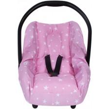 Протектор за стол за кола с предпазител за кръста Sevi Baby - Розови звезди -1