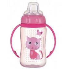 Преходна чаша със силиконов накрайник Canpol - 320 ml, розова -1