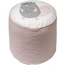 Пуф Bloomingville - С бобърче, 100% памук, розов -1