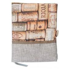 Рокля за книга: Коркови тапи (Текстилна подвързия с копче) -1