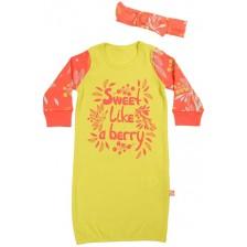 Рокля Zinc Sweet like a berry - Жълта, с лента с панделка, 62 cm -1