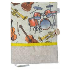 Рокля за книга: Музикални инструменти (Текстилна подвързия с копче) -1