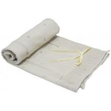 Бебешко одеяло с панделка EKO - Бежово, 80 х 70 cm -1