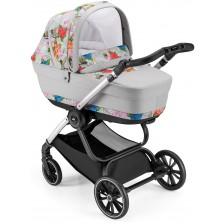 Сет за детска количка Cam - Milano, без шаси, сив с цветя -1