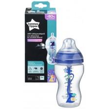 Бебешко шише Tommee Tippee Advanced Anti-Colic - 340 ml, с биберон 2 капки, синьо