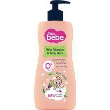 Шампоан за коса и тяло Tео Bebe - Алое и пребиотик, 400 ml -1